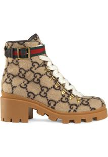 Gucci Gg Wool Ankle Boot - Neutro