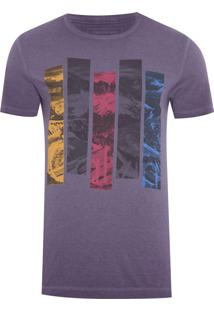 Camiseta Masculina Faixas Coloridas - Roxo