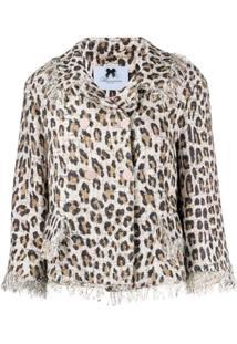 Blumarine Jaqueta Leopardo Com Franjas - Marrom