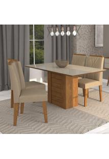 Conjunto Sala De Jantar Mesa Rafaela 4 Cadeiras Nicole Cimol Savana/Off White/Suede Marfim