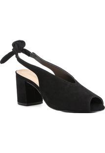 Sandália Couro Shoestock Salto Bloco High Vamp Feminina - Feminino-Preto