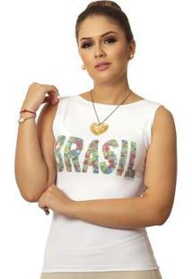 Regata Ficalinda Estampa Copa Do Mundo Brasil 10 Decote Canoa Feminina - Feminino-Branco