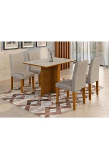 Conjunto De Mesa De Jantar Com 4 Cadeiras Ane Suede Imbuia E Branco