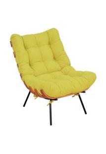 Poltrona Decorativa Sala De Estar Costela Suede Amarelo - Lyam Decor