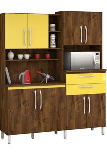 Armário De Cozinha Rubi 8 Portas Malbec Com Amarelo Vitamov