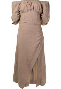 Rachel Gilbert Vestido Ombro A Ombro - Marrom