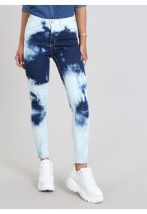 Calça Jeans Feminina Super Skinny Tie Dye Azul Escuro