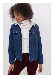 Jaqueta Jeans Com Pelo Sintético