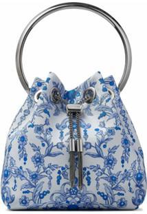 Jimmy Choo Bolsa Tote Bon Bon Com Estampa Floral E Detalhe De Tassel - Azul