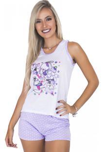 Pijama Mvb Modas Adulto Curto Bolinha Lilás