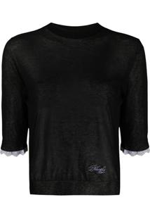 Philosophy Di Lorenzo Serafini Sheer 3/4 Sleeves Pullover - Preto