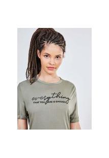 Camiseta Verde Militar Com Lettering