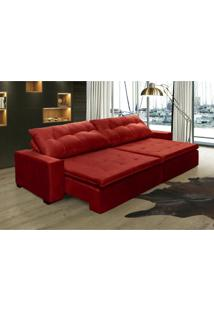 Sofá Retrátil, Reclinável Oklahoma 2,72M, Molas E Pillow No Assento Tecido Suede Vermelho Cama Inbox