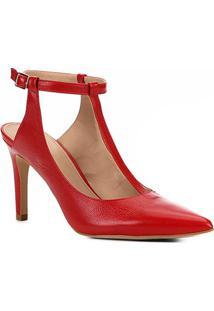 Scarpin Couro Shoestock Salto Alto Tira - Feminino