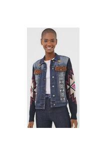 Jaqueta Jeans Desigual Bordado Azul