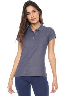 Camisa Polo Aleatory Estampada Azul-Marinho