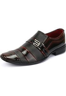 Sapato Social Rebento Esporte Fino Preto E Vermelho