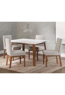 Conjunto De Mesa De Jantar Suíça Com 4 Cadeiras Linho Branco E Bege
