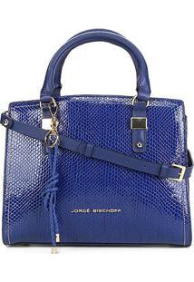 Bolsa Couro Jorge Bischoff Grande Chaveiro 2 Divisões Verniz Effect Feminina - Feminino-Azul