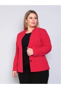 Blazer Plus Size Palank Energia Feminina - Feminino-Vermelho