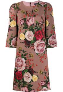 Dolce & Gabbana Vestido Reto Com Estampa Floral - Rosa