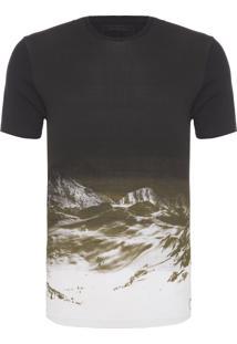 Camiseta Masculina Estampa Reticulada - Preto