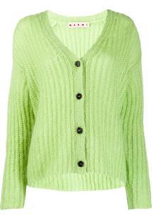 Marni Cardigan Canelado - Verde