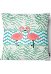 Capa Para Almofada Garden Casal De Flamingos 43X43Cm - Belchior - Verde / Rosa