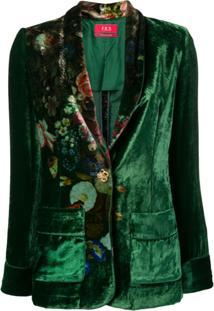 F.R.S For Restless Sleepers Blazer Floral De Veludo - Verde