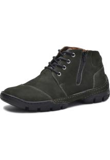 Bota Cano Curto Over Boots Couro Verde Militar