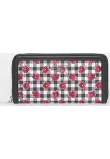 "Carteira Floral ""Guess®"" - Preta & Rosa - 10X19X3Cmguess"