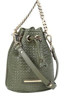 Bolsa Couro Jorge Bischoff Mini Bag Tressê Feminina - Feminino-Verde Militar