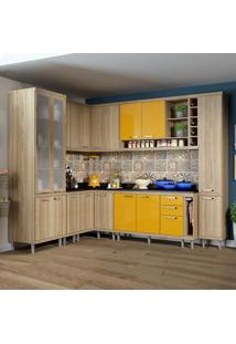 Cozinha Completa 16 Portas Com Tampo E Vidro 5805 Amarelo/Argila - Multimóveis