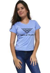 Camiseta Gola V Cellos Mosaico Premium Feminina - Feminino-Azul Claro