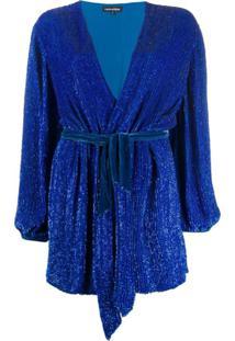 Retrofete Vestido Envelope Com Brilho - Azul