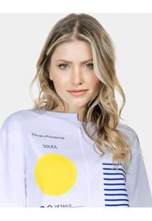 Blusa Assimétrica Estampada Malha Branco - Lez A Lez
