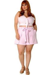 Short Plus Size Candy Em Alfaiataria - Feminino-Pink