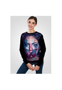 Blusa Moletom Ramavi Flanelado Butterfly Face Art Com Bolso