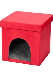 Puff Pet Baú Casinha Desmontável Dobrável Suede Vermelho 38X38 - Lyam Decor