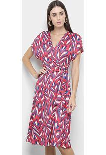 Vestido Morena Rosa Midi Estampado - Feminino-Vermelho+Azul
