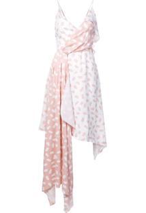 Off-White Vestido Assimétrico - Rosa