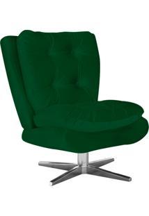 Poltrona Decorativa Tolucci Suede Verde Com Base Giratória Em Aço Cromado - D'Rossi