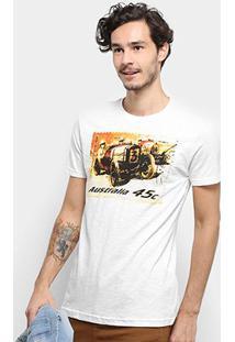 Camiseta Bulldog Fish Old Car Masculina - Masculino-Off White