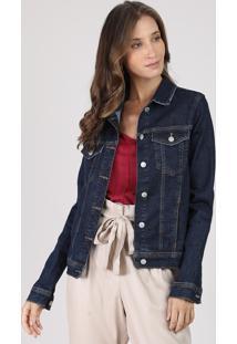 Jaqueta Jeans Feminina Com Recortes E Bolsos Azul Escuro