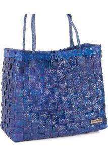 Bolsa Ana Viegas Tote-Shopper Palha Natural Forro Tecido Praia Feminina - Feminino-Azul