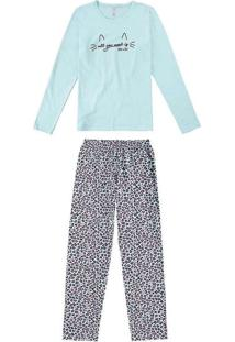 Pijama Feminino Malwee 1000077236 02032-Verde-Agua
