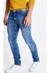 Calça Super Skinny Em Jeans Médio