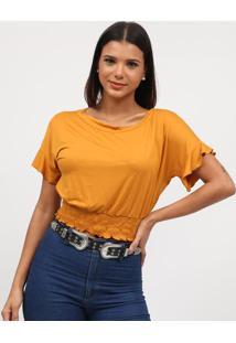 Blusa Lisa Com Elã¡Stico- Amarelo Escuro- Tritontriton