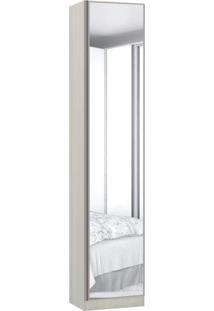 Sapateira Modulado 1 Porta Emoldurada Com Espelho 9 Prateleiras 50Cm Prime Plus Luciane Móveis Legno Crema