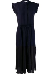 Chloé Vestido Midi Com Recortes Contrastantes - Azul